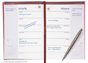 Open diary and pen